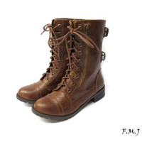 FMJ shoes DMS Knight &amp; Military Two Zipper Lace Up Mid-Calf Buckles Boots