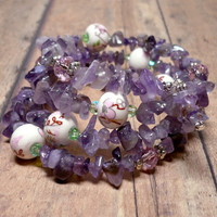 Amethyst Chip Porcelain Bead and Crystal Multi Wrap Bracelet
