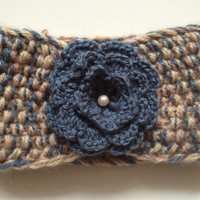 Knitted headband with flower for girls/ beige-blue