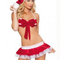 Extra Bowtie Embellished Christmas Suit Costume