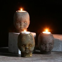 johnnyhead tea light by mudstuff on Etsy