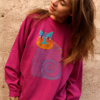 90s LAUREL BIRCH cat PASTEL designer artist sweatshirt