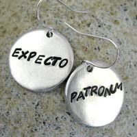 Expecto Patronum Earrings Harry Potter Jewelry Hand by foxwise