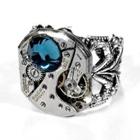 Steampunk Ring Vintage BULOVA Jeweled Watch Mechanism Silver Filigree Ring BLUE Swarovski - Steampunk Jewelry by edmdesigns