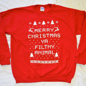 Sweat Shirt: Merry Christmas Ya Filthy Animal, in Red,  Sizes S-4X
