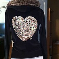 VICTORIA SECRET PINK SEQUIN BLING HEART VELOUR FUR LINED HOODIE JACKET TOP SMALL