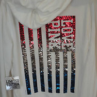 NWT Victoria's Secret LOVE PINK Bling Sequin Flag Hoodie TOP LIMITED EDITION