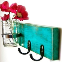 turquoise key hook wall key hanger mason jar vase cottage style handmade