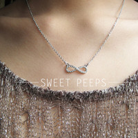 Delicate Silver Rhinestone Infinite Necklace