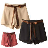 New Women Girls Trendy Wave Hem Leisure Shorts Bandwidth Casual Shorts Pant Jft