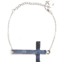 Chain bracelet with silver cross