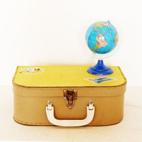 Vintage doll suitcase yellow cardboard for children
