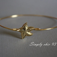 Starfish Gold Bangle Bracelet Nautical jewelry