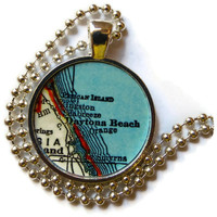 Daytona Beach Florida map necklace pendant charm jewelry, Florida Jewelry, vintage map jewelry