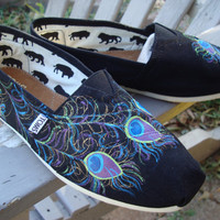 peacock feathers painted on TOMS shoes by ArtfulSoles on Etsy