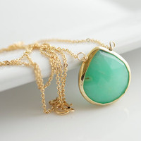 Chrysoprase Necklace, Green Chrysoprase Pendant, Vermeil Rimmed Pendant