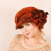Red pom pom hat Orange crochet hat Chunky knit hat Melting pot hat Orange wool hat Big knit hat Orange brown hat Crochet newsboy hat