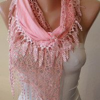 New - Christmas Gift Scarf- Salmon Scarf with Lace Trim Edge Edge - Cotton and Lace Fabric