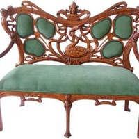 One Kings Lane - Vintage &amp; Market Finds - Art Nouveau Hand-Carved Settee