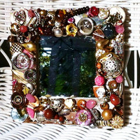 handmade vintage jewelry mosaic mirror, pink and brown