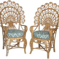 One Kings Lane - Vintage & Market Finds - Victorian Fan-Back Wicker Chairs, Pair