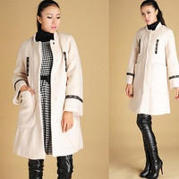 Warm coat white Wool Coat with lace detail (425)