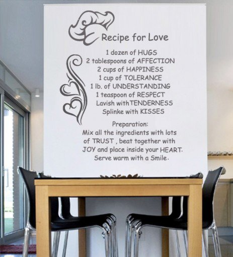 Kitchen wall art recipe for life wall from wall decals - Kitchen wall stickers decor ...