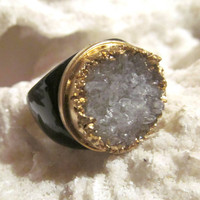 White crystal quartz druzy and black onyx ring
