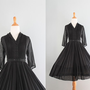 1950s Dress / 50s Sheer Black Dress / Full Skirt Fifties Dress