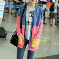 Leisure Color Block Split Joint Long Sleeve Knit Long Coat: tidestore.com