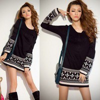 Korea Women Long Sleeve Sweater Mini Dress Knitwear Jumper Casual Tops K223