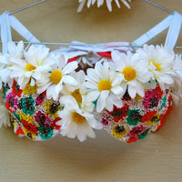 Bright and Colorful Beaded Daisy Bra