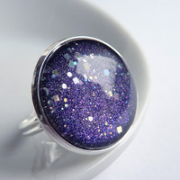 Starry Sky Ring, Glitter Stars, Adjustable Ring