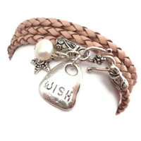 Pink Braided Leather Wrap Bracelet with Wish Charm by charmeddesign1012