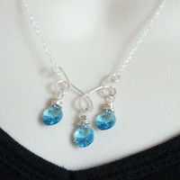 Wire wrapped Pendant with chain Aqua blue swarovski crystal bridesmaid gift sterling silver jewelry Luxe style