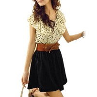 Amazon.com: Allegra K Woman Beige Black Scoop Neck Dotted Shirred Waist Dress XS w Belt: Clothing
