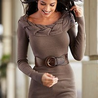 Belted sweater w/ detailed neckline from VENUS