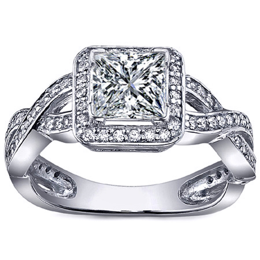 Engagement Ring Princess Diamond Halo from MDC Diamonds