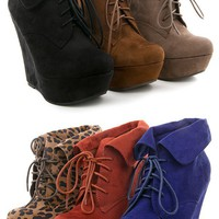 Breckelle&#x27;s Carrie12 Leopard Folded Cuff Wedge Booties shop Boots at MakeMeChic.com