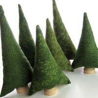 Evergreen Trees Tiny Forest Natural Evergreen by QuietudeQuilts