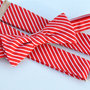 Boy&#x27;s Bow Tie and Suspenders Red and White Stripe Christmas Bowtie