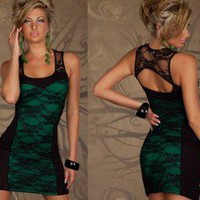 New Stylish Mini Dress With Sexy Back View Green (DR4)