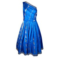 VINTAGE 1950s BLUE & SILVER SARI SILK ONE SHOULDER PARTY DRESS at 1stdibs
