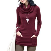 Allegra K Woman Button Decor Neck Warmer Long Sleeve Round Neck Shirt Top Burgundy XS