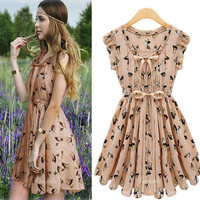 Women Elegant Ribbon Details Animal Prints Chiffon Dress