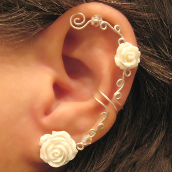 Non Pierced Ear Cuff Roses are White Cartilage Conch Cuff Silver Tone and Lucite Roses