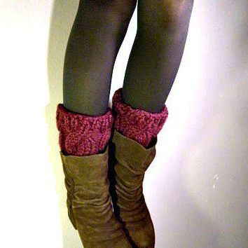 Boot Cuffs boot covers in Plum cable knit by KittyDune on Etsy