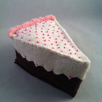 Felt Chocolate Birthday or Wedding Cake Slice by PetitsCadeaux