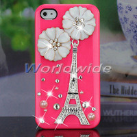 For iPhone 4G 4S Cute 3D Rose Bling Flower & Eiffel Tower Skin Back Case Cover