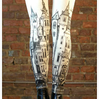 Victorian City Leggings - Womens Off White Legging tights - SMALL Legwear